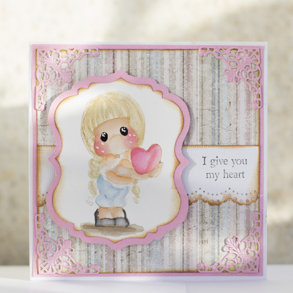 Valentines Day Card with Magnolia- I give you my heart Tilda Duo (10)