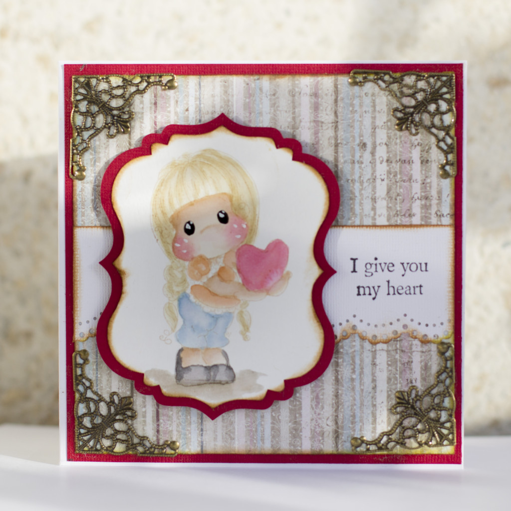 Valentines Day Card with Magnolia- I give you my heart Tilda Duo (3)