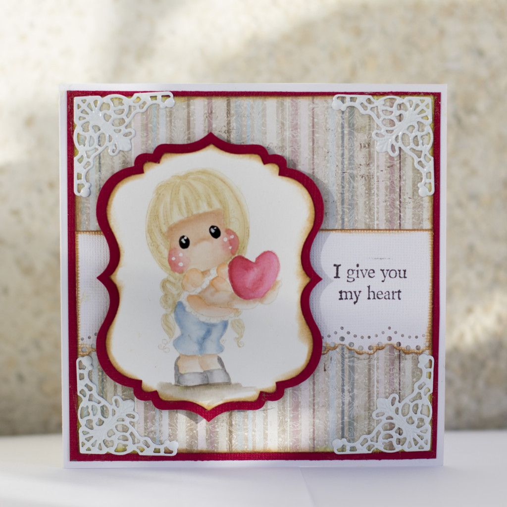 Valentines Day Card with Magnolia- I give you my heart Tilda Duo (4)