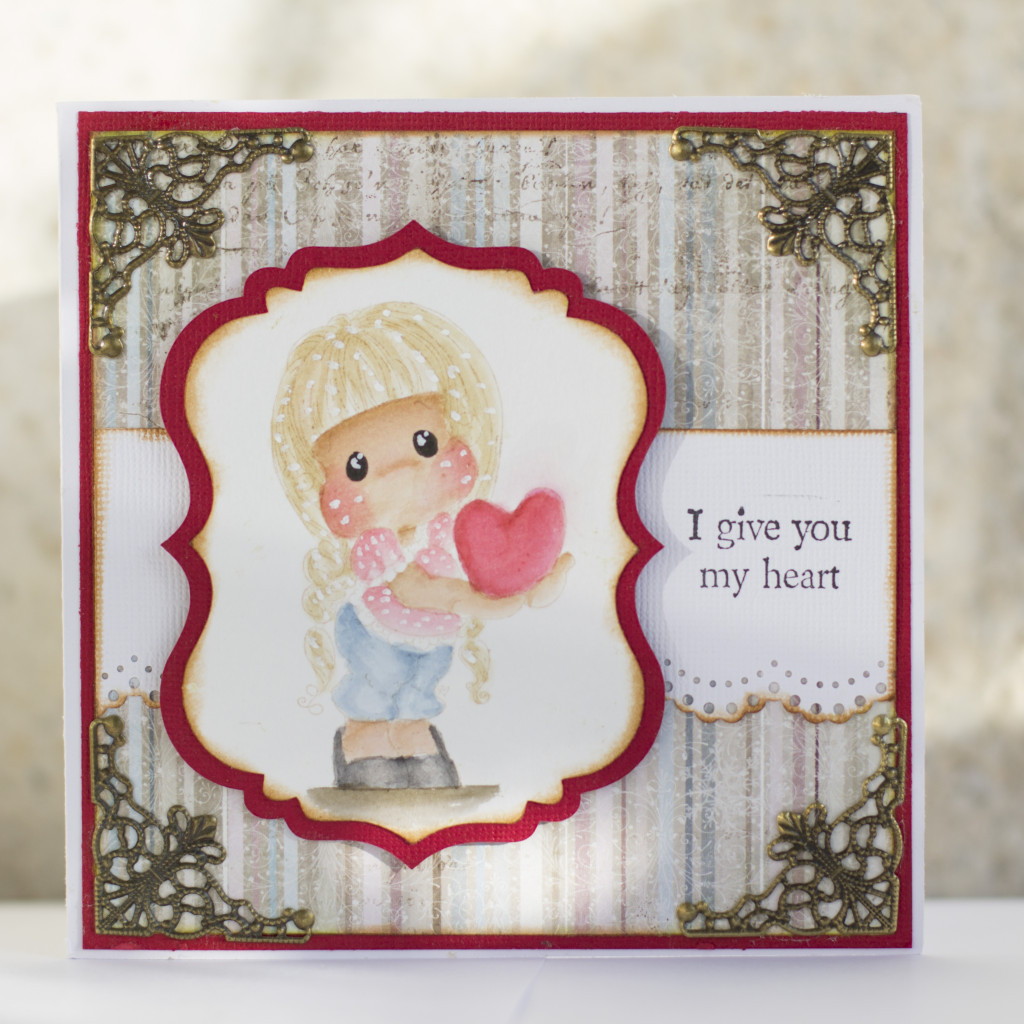 Valentines Day Card with Magnolia- I give you my heart Tilda Duo (5)
