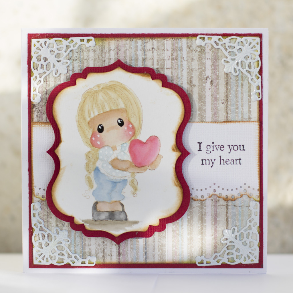Valentines Day Card with Magnolia- I give you my heart Tilda Duo (6)