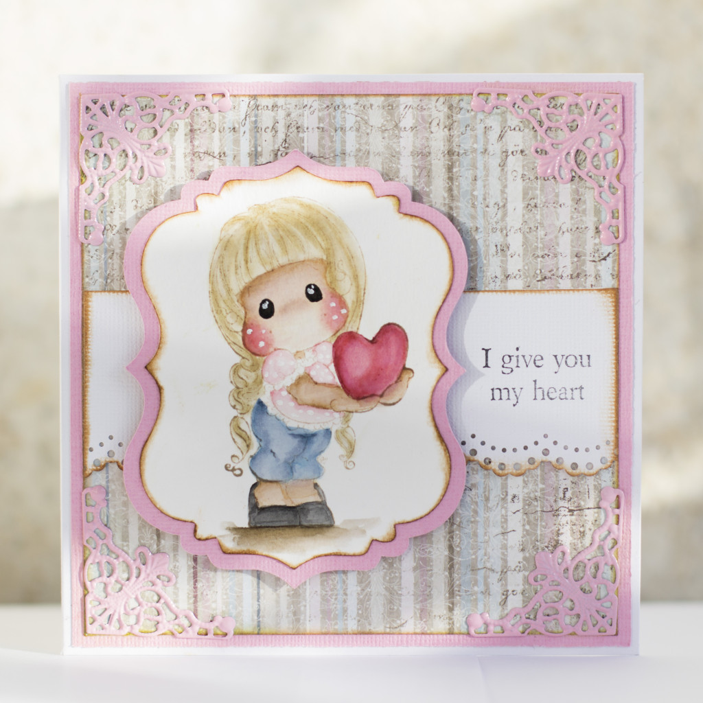 Valentines Day Card with Magnolia- I give you my heart Tilda Duo (7)