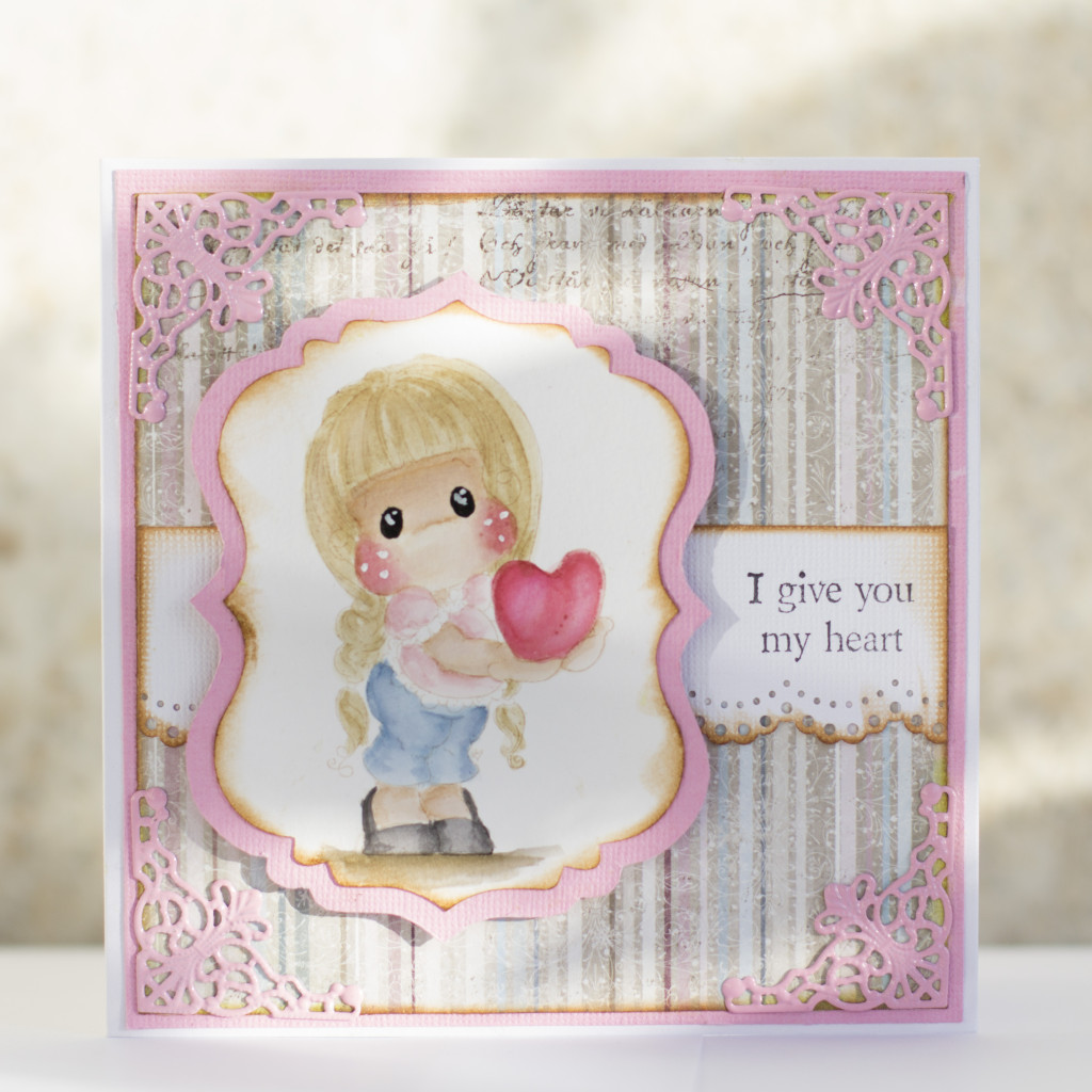 Valentines Day Card with Magnolia- I give you my heart Tilda Duo (9)